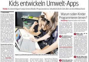 """Ausschnitt des Kurier Artikels """"Kids entwickeln Umwelt-Apps"""""""