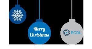Weihnachtskougeln mit Stern, Merry Christmas und ECDL Logo